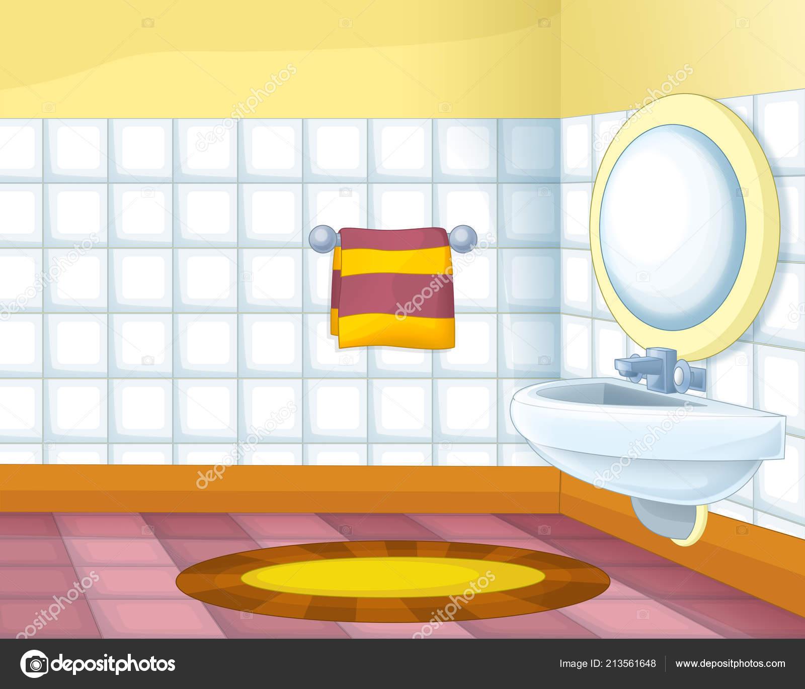 Cartoon Scene Colorful Empty Bathroom Illustration Children Stock Photo Image By Illustrator Hft 213561648