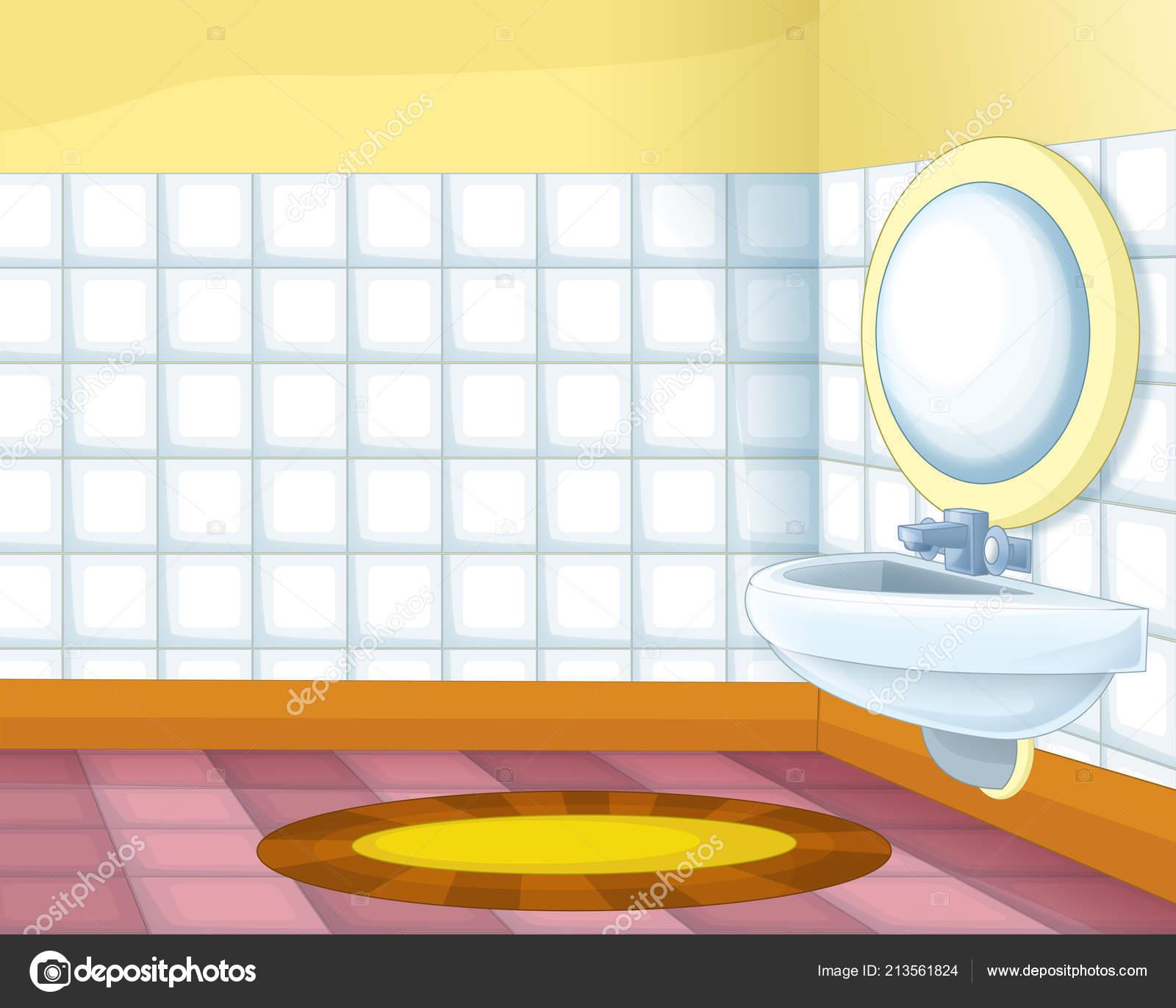 Cartoon Scene Colorful Empty Bathroom Illustration ...