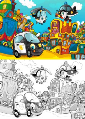 Cartoon police car smiling and looking in the parking lot / plane and helicopter flying over - illustration for children