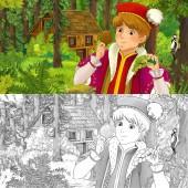 Fotografie kreslený scény s mladý princ cestuje a setkání s skryté dřevěném domku v lese - s umělecké omalovánky - ilustrace pro děti