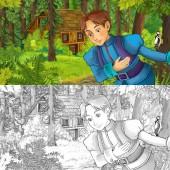 kreslený scény s mladý princ cestuje a setkání s skryté dřevěném domku v lese - s umělecké omalovánky - ilustrace pro děti