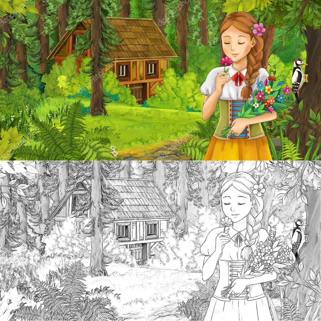 cartoon scene with young girl princess in the forest near hidden wooden house - with artistic coloring page - illustration for children