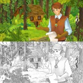 Fotografie cartoon scene with young prince traveling and encountering hidden wooden house in the forest - with artistic coloring page - illustration for children