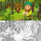 kreslený scény s happy trpaslík v lese poblíž dřevěný dům - s umělecké omalovánky - ilustrace pro děti