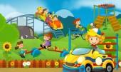 Fotografia Scena del fumetto di parco giochi per bambini e kid davanti a un pittoresco edificio negozio di caramelle - illustrazione per bambini