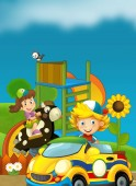Fotografie Cartoon scene of playground and kid in front of a colorful building candy shop - illustration for children