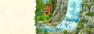 cartoon scene with beautiful wooden house hidden in the forest near watterfall and stream - with space for text - illustration for children