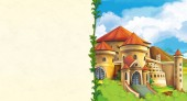 Fotografia scena con il bellissimo castello medievale sulla collina - con spazio per testo - fumetto per bambini