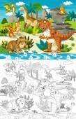 rajzfilm dinoszauruszok a dzsungel - és színező oldal - illusztráció a gyermekek számára scene