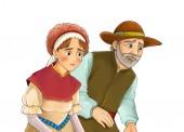 Kreslené pohádky znaky - farmář žena a muž - muž a žena na bílém pozadí - ilustrace pro děti