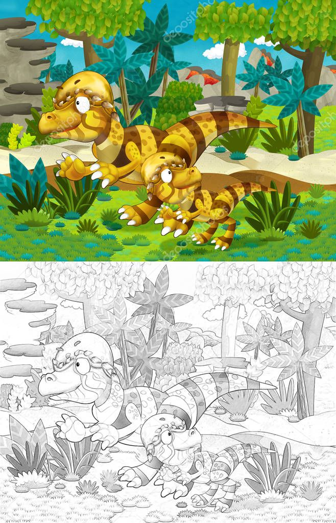 cartoon scene with dinosaurs in the jungle pachycephalosaurus - with coloring page - illustration for children