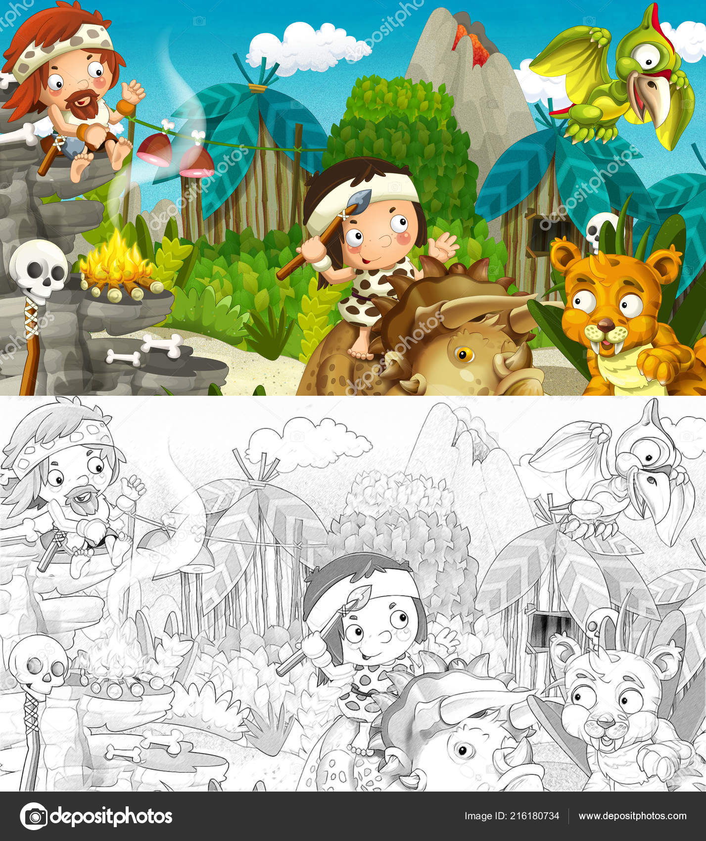 Desenhos Animados Cena Com Dinossauros Homens Das Cavernas Selva