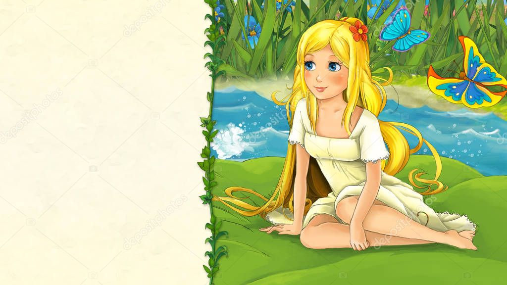 cartoon fairy tale scene with beautiful young girl on the leaf in the river near meadow - illustration for children