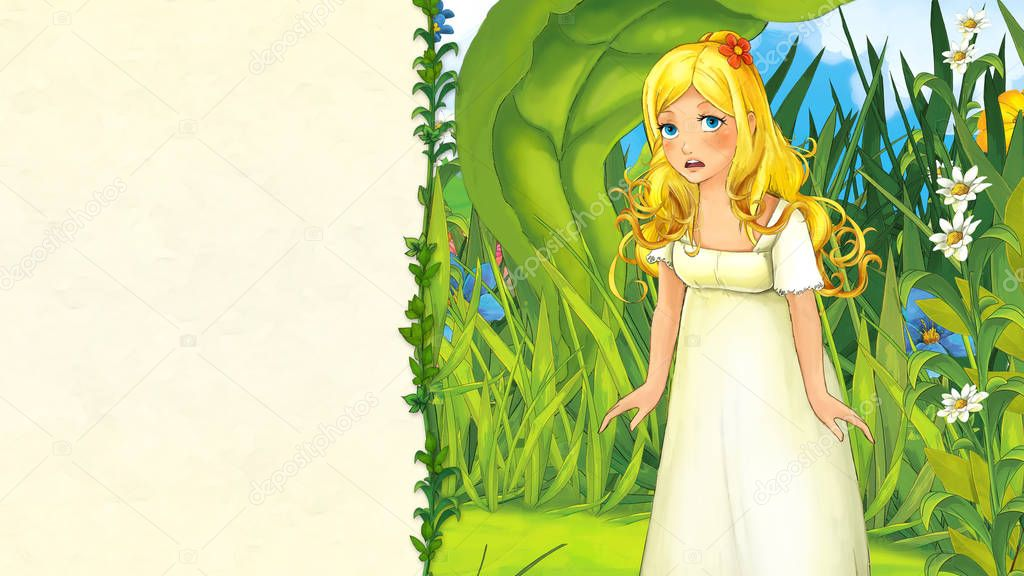 cartoon fairy tale scene with beautiful young girl on the meadow - with frame for text - illustration for children