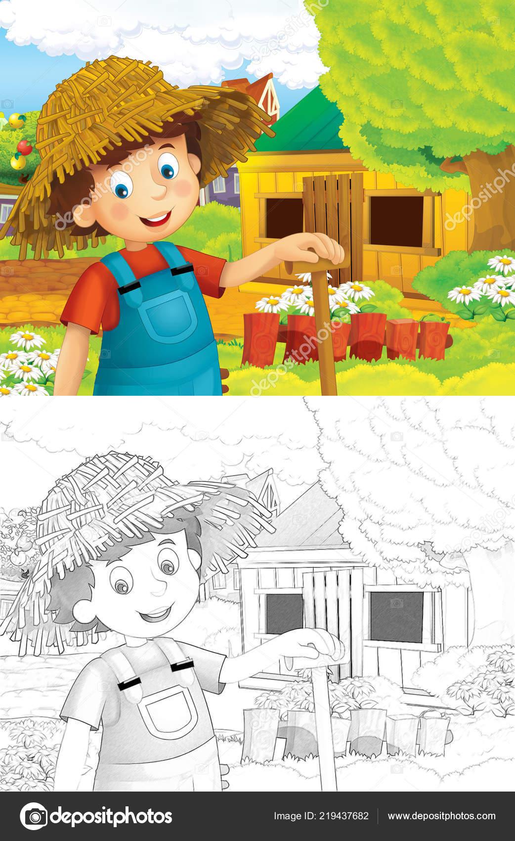 Cartoon Szene Mit Jungen Bauern Arbeiten Auf Dem Bauernhof Mit