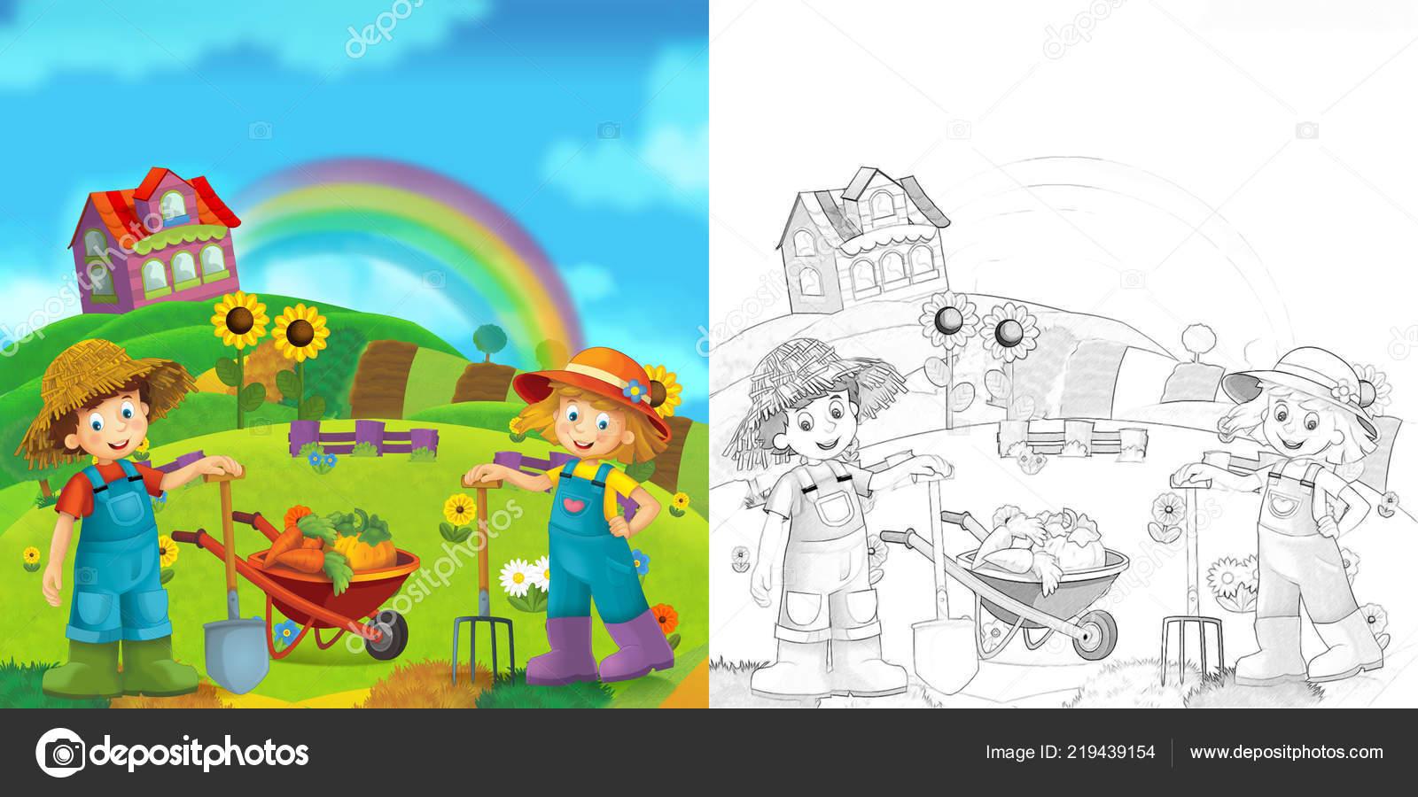Escena Dibujos Animados Con Los Niños Niñas Granjero Con Página