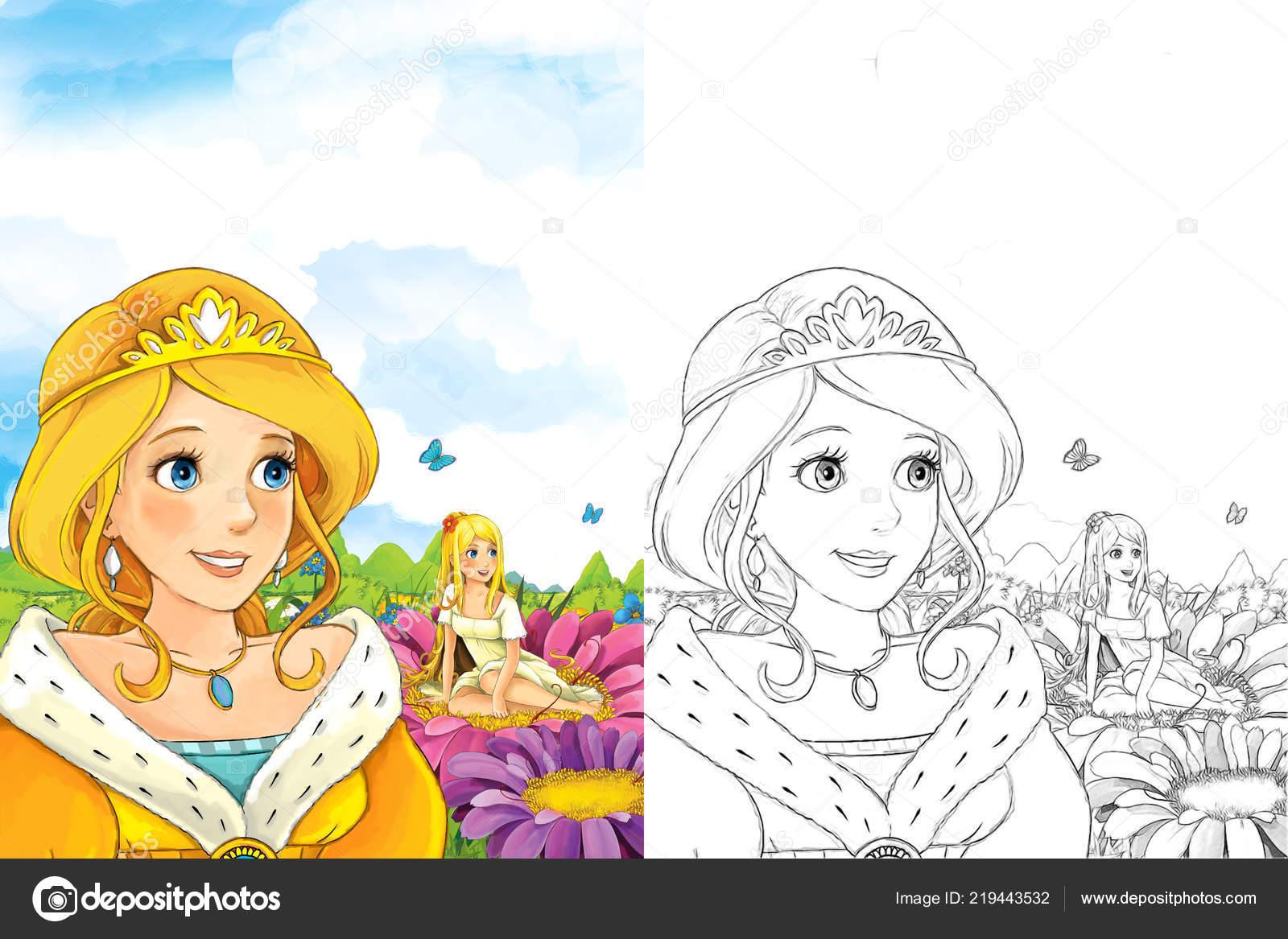 Scena Fiaba Del Fumetto Con Una Giovane Signora Principessa Piedi