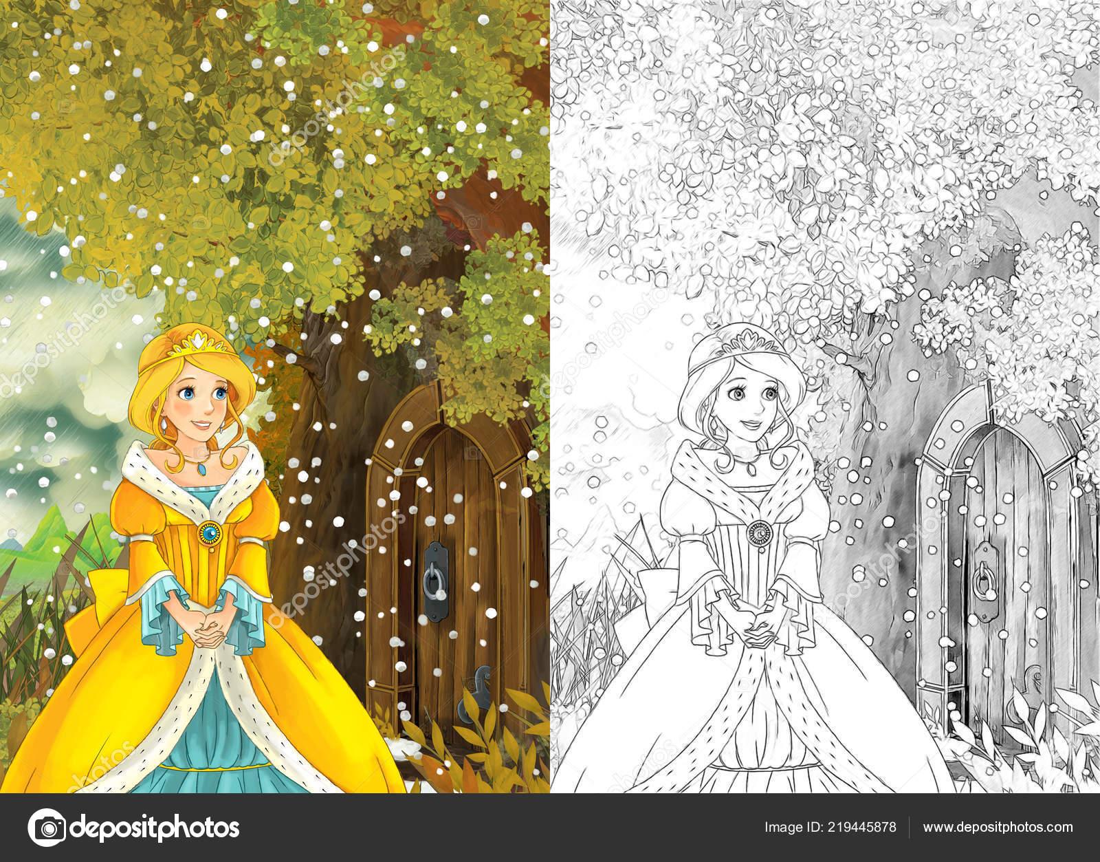 Kreslene Pohadky Scena Princeznou Mlada Divka Jde Domu Strome Behem