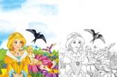 Photo cartoon fairy tale scene with beautiful princess - elf girl looking at flying cuckoo bird - illustration for children