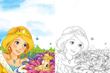 Cartoon fairy tale scene with a young lady princess standing in the meadow looking at little fairy sitting on some flower - with coloring page - illustration for children