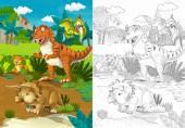 kreslený scény s tyrannosaurus rex a triceratops v džungli - ilustrace pro děti