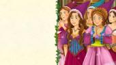 Fényképek rajzfilm mese jelenet szöveg - hercegnő szép, fiatal lány vagy látszó királyné - tér illusztrációja-gyermekeknek