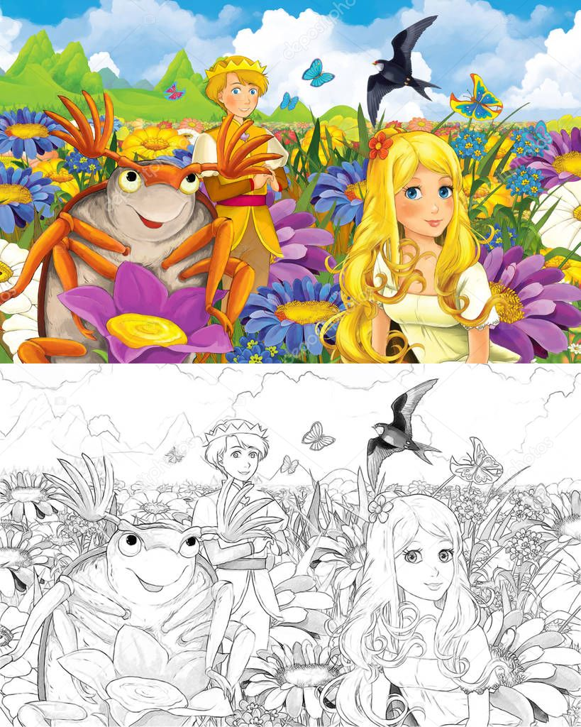 cartoon scene with beautiful tiny elf girl on the meadow talking to dumbledore bug - with coloring page - creative illustration for children