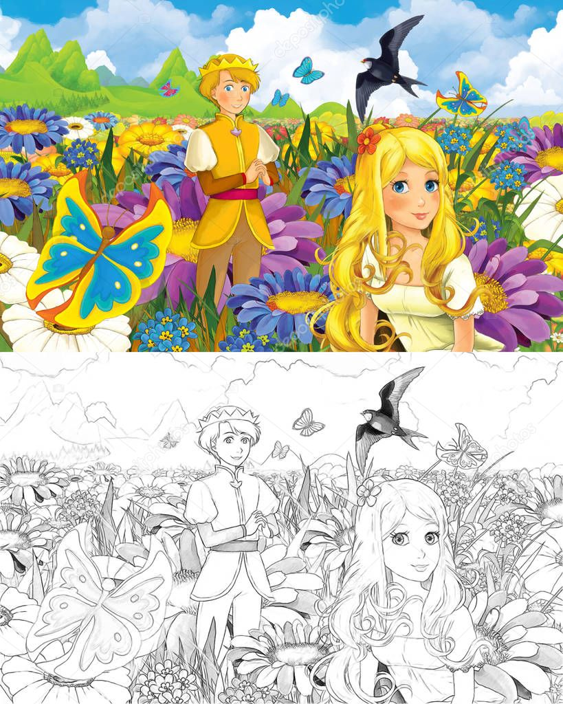cartoon scene with beautiful tiny elf girl on the meadow looking at flying butterfly - with coloring page - creative illustration for children