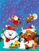 Vánoční happy scéna s různými zvířaty santa claus a sněhulák - ilustrace pro děti