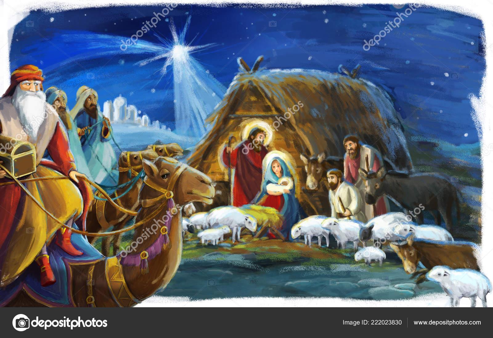 Imagenes Sagrada Familia Navidad.Escena Navidad Tradicional Con Sagrada Familia Para Uso
