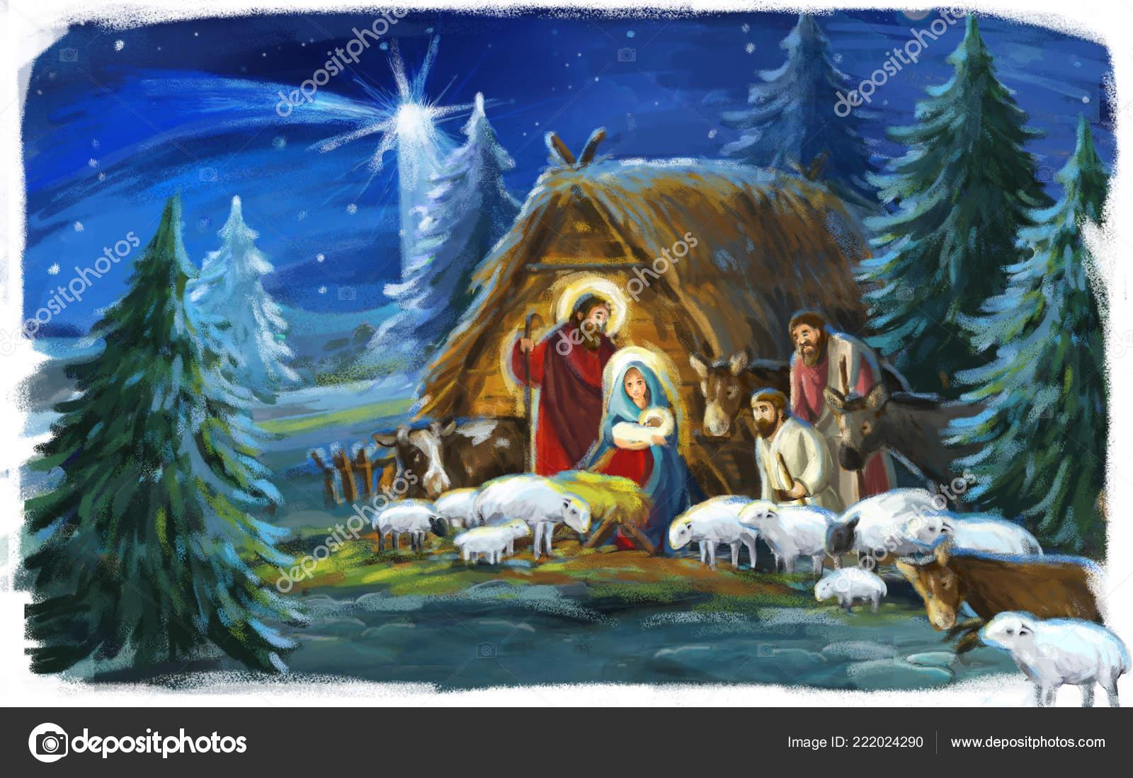 Immagini Di Natale Con Sacra Famiglia.Scena Natale Tradizionale Con Sacra Famiglia Uso Differente