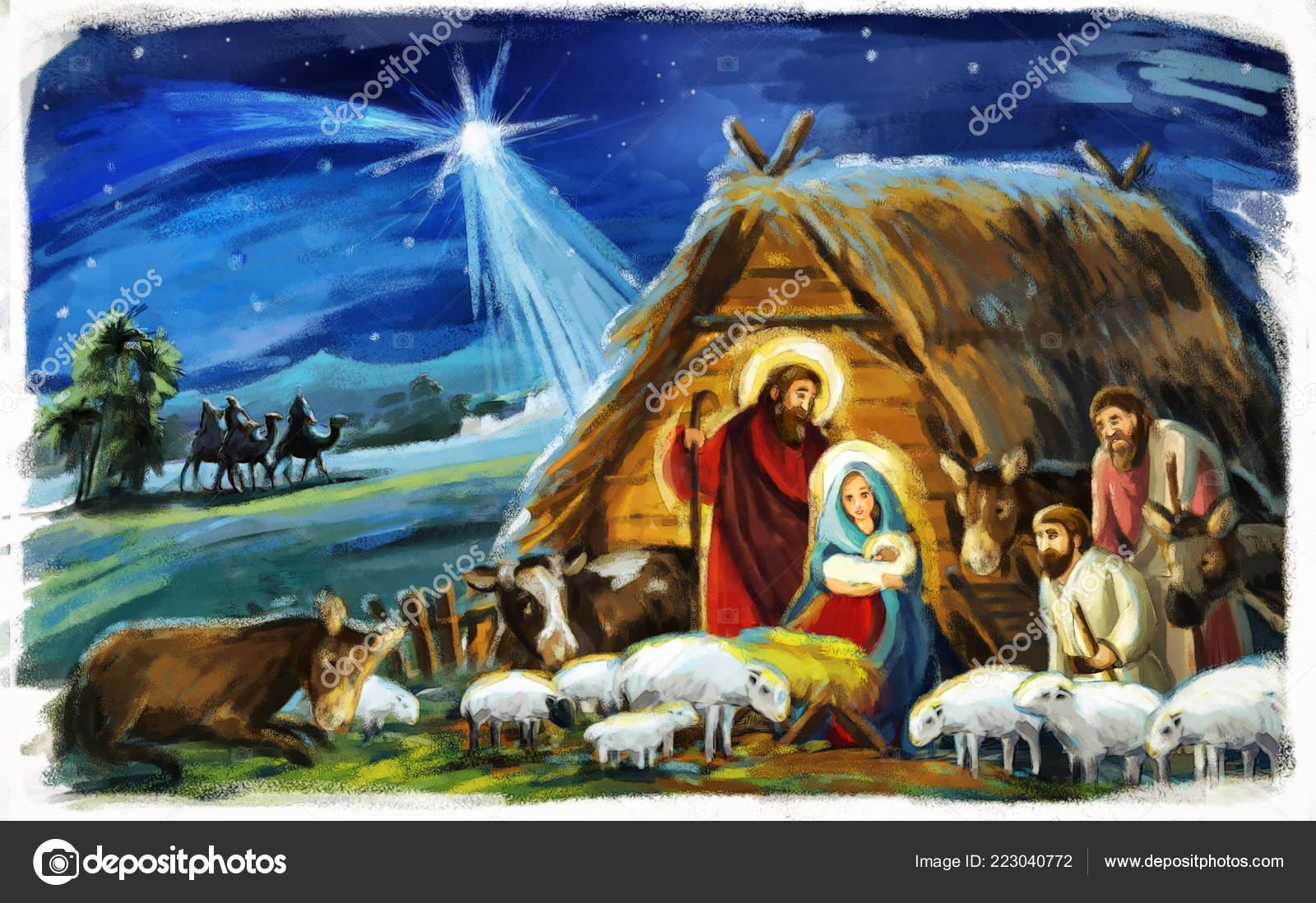 Imagenes Sagrada Familia Navidad.Escena Navidad Tradicional Con Sagrada Familia Tres Reyes