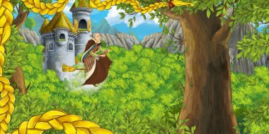 cartoon scene of castle tower with opened window and flying witch - illustration for children