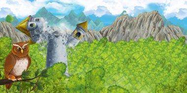 Cartoon scene of collapsing medieval tower - illustration for children