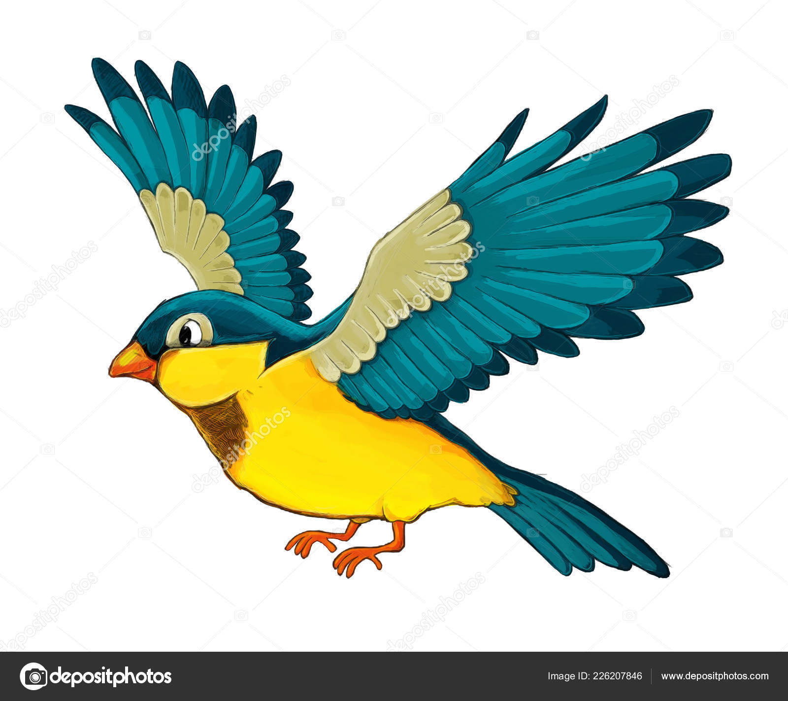 Cartoon Exotic Colorful Bird Flying White Background Illustration