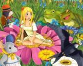 Fotografia scena del fumetto con ragazza giovane bella elfo sul prato con il volo con lillustrazione di diversi amici animali - uccello del cuculo del mouse mole e rane - per i bambini