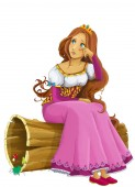 Photo cartoon scene with beautiful princess on white background - illustration for children
