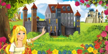 Cartoon nature scene with beautiful castles near the forest with beautiful young girl - illustration for the children