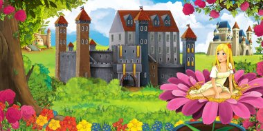 Cartoon nature scene with beautiful castles near the forest with beautiful young elf girl - illustration for the children