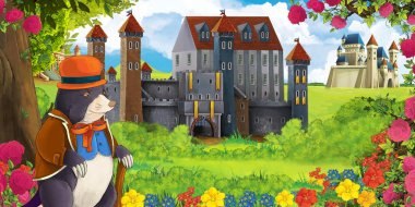 Cartoon nature scene with beautiful castles near the forest and happy mole - illustration for the children
