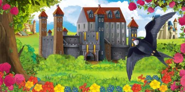 Cartoon nature scene with beautiful castles near the forest and resting cuckoo bird - illustration for the children