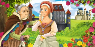 Cartoon nature scene with beautiful castles near the forest with beautiful young girl talking to older woman - illustration for the children