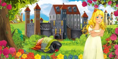 Cartoon nature scene with beautiful castles near the forest and resting cuckoo bird and young girl looking - illustration for the children