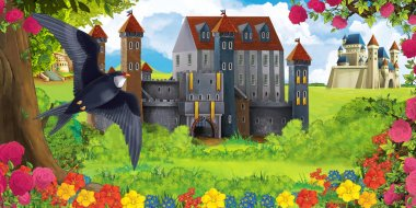 Cartoon nature scene with beautiful castles near the forest and flying cuckoo bird - illustration for the children