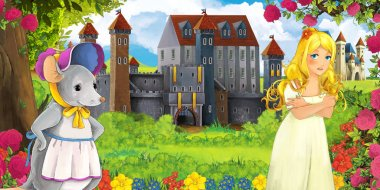 Cartoon nature scene with beautiful castles near the forest mouse and young girl looking - illustration for the children