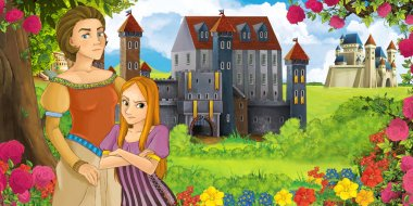 Cartoon nature scene with beautiful castles near the forest with beautiful young girl and her mother - illustration for the children