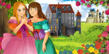 Cartoon nature scene with beautiful castles near the forest with beautiful young girls sisters - illustration for the children