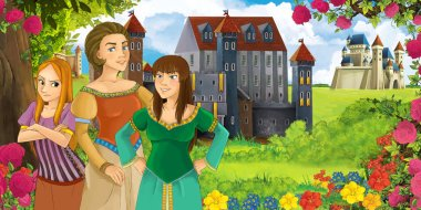 Cartoon nature scene with beautiful castles near the forest with beautiful young girls - illustration for the children