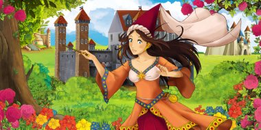 Cartoon nature scene with beautiful castles near the forest with beautiful young princess sorceress - illustration for the children