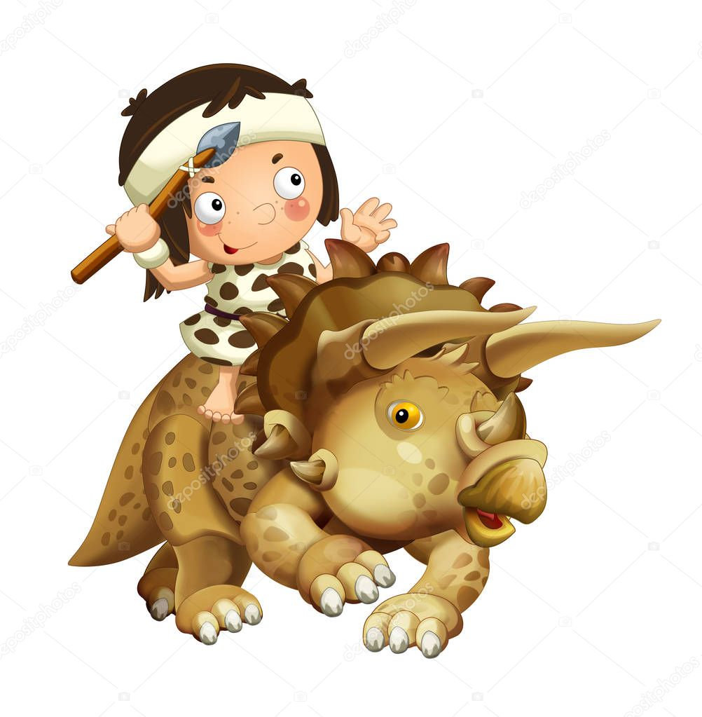 cartoon happy scene with caveman on triceratops on white background - illustration for children